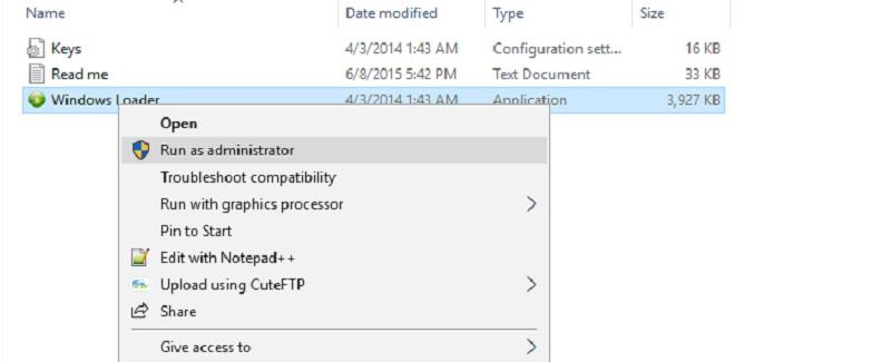 Chạy file cài đặt phần mềm Windows Loader