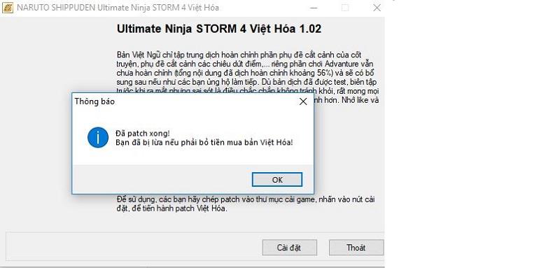 Nhấn Cài đặt và Ok để Việt Hóa game