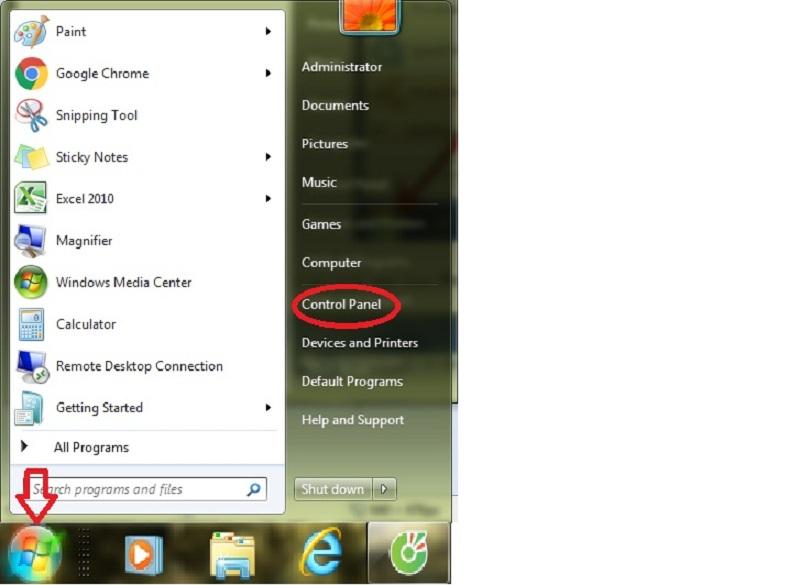 Nhấp chọn Control Panel tại Windows