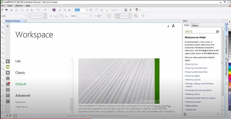 Giao diện chính của phần mềm Corel x7