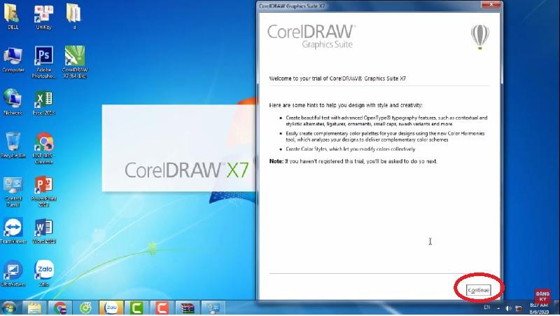Giao diện sau khi nhấn mở phần mềm Corel x7