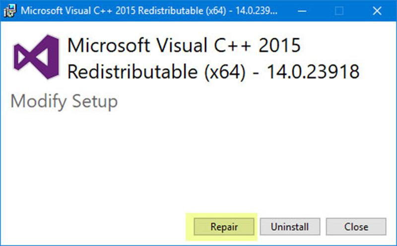 Sửa chữa gói Visual C++ Redistributable để khắc phục lỗi