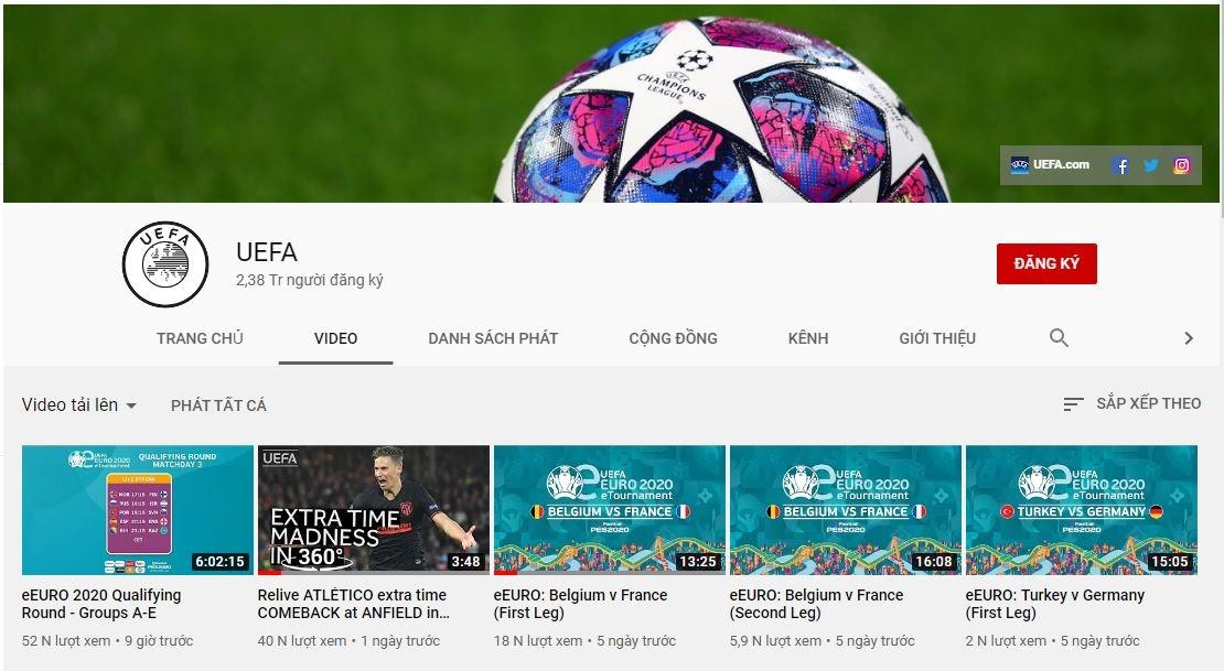 Giải bóng đá điện tử eEuro được phát trực tiếp trên kênh youtube về bóng đá chính thức của UEFA